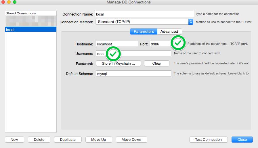 Settings based on MAMP Start Screen