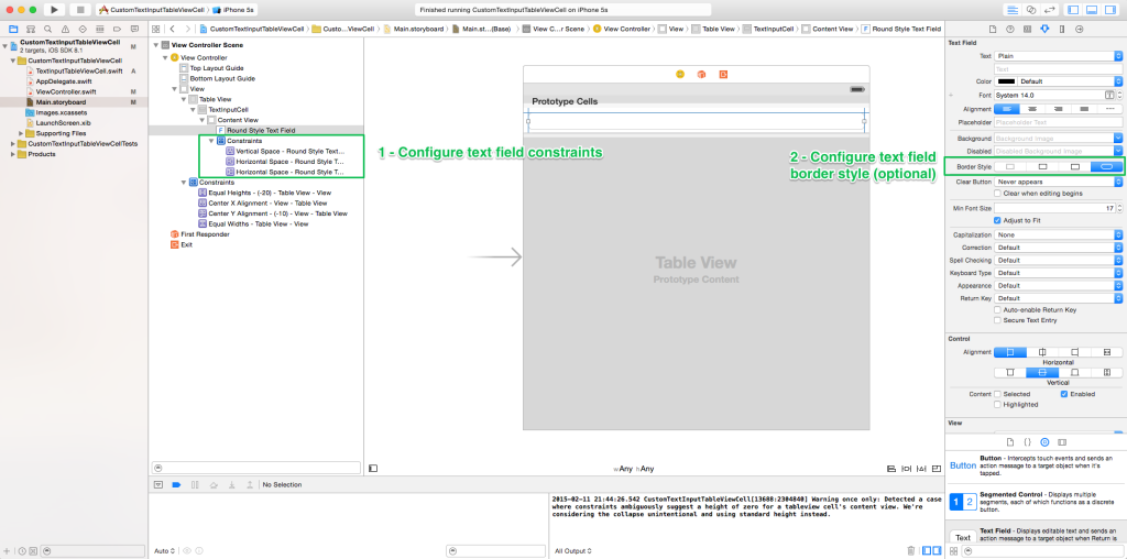 Configure Text Field Constraints and Border