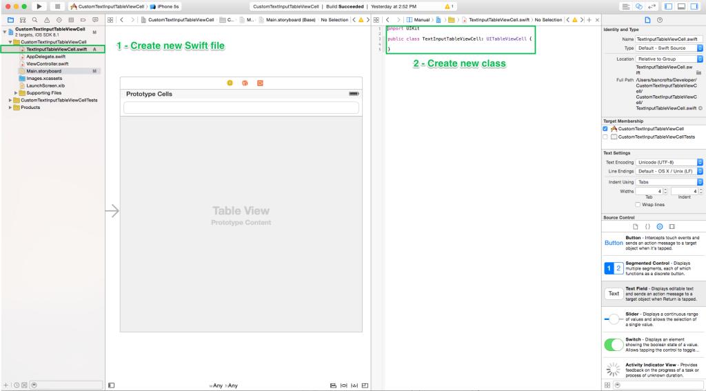 Create new class - TextInputTableViewCell
