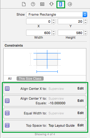 Detailed view of constraints