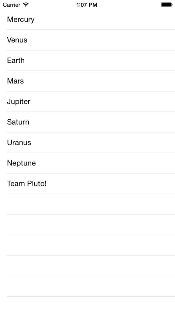 Table View with Planets