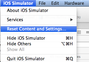 Reset iOS Simulator's Content and Settings