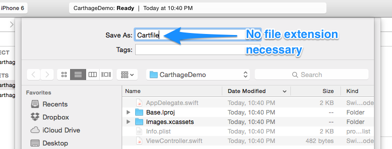 Cartfile -> Create