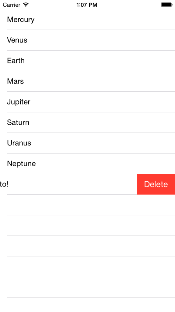 Table View - Delete Button Revealed