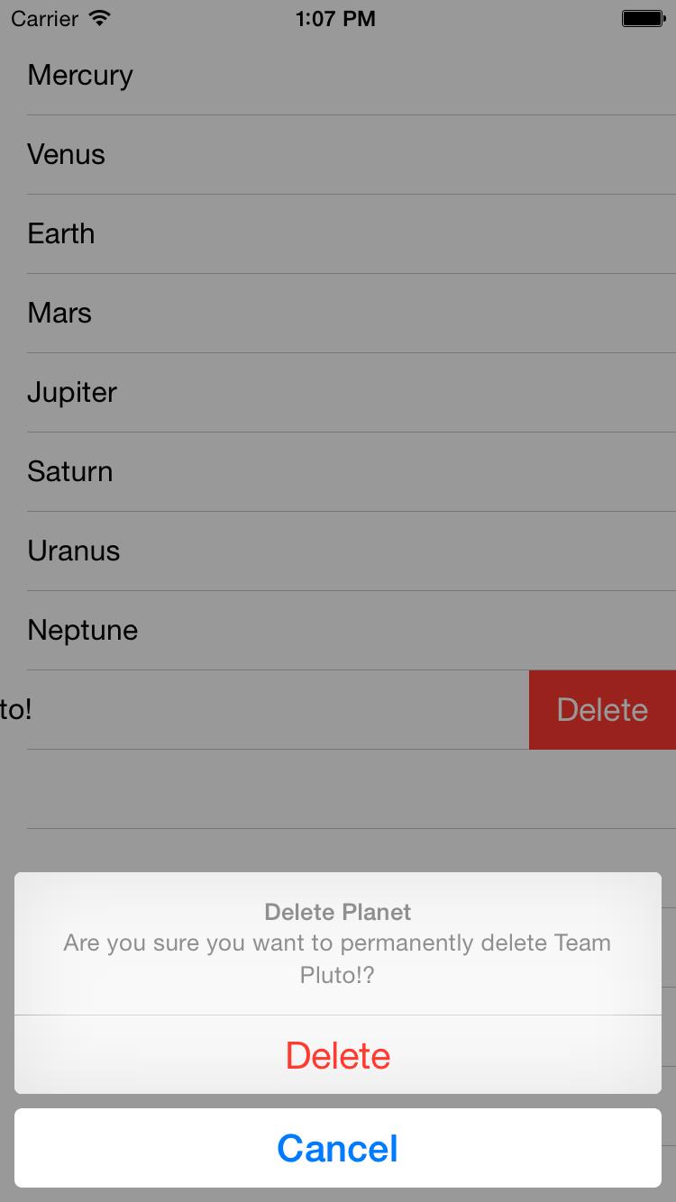 UITableView Swipe to Delete Workflow in Swift
