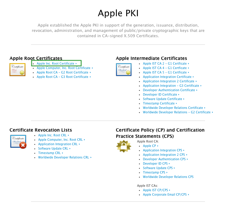 Apple Certificate Page