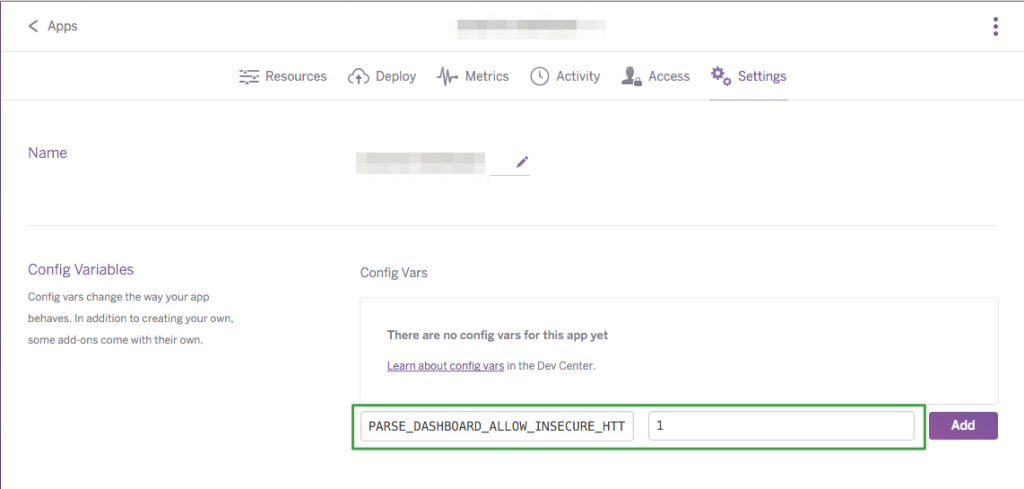 Heroku Config Vars PARSE_DASHBOARD_ALLOW_INSECURE_HTTP