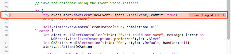 Save Event Sig Kill Error