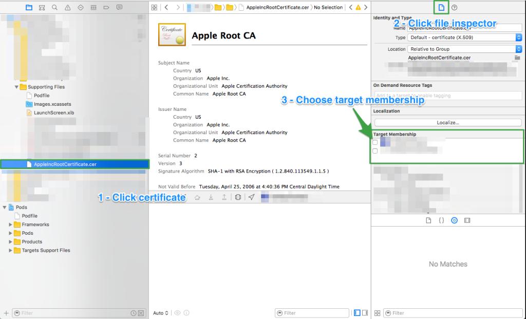 Apple Root Certificate Target Membership