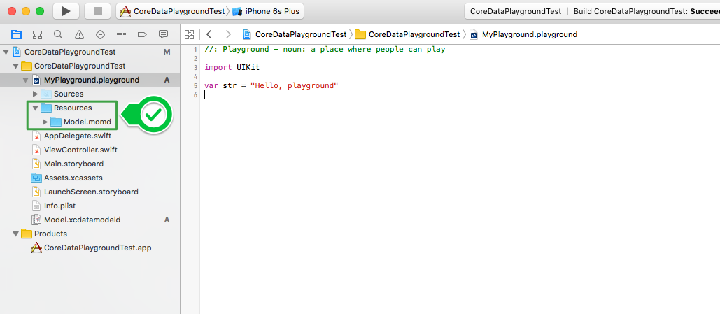 Using a Core Data Model in Swift Playgrounds