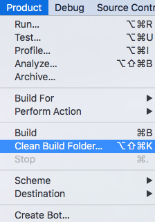 Product -> Press Option Key -> Clean Build Folder...